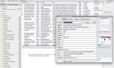Screenshot of BibDesk library.
