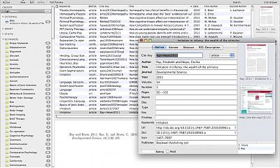 Screenshot of BibDesk library.