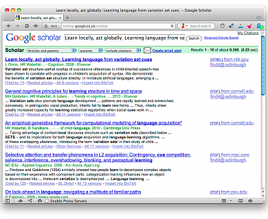 Screenshot of Opera webrowser, showing Google Scholar with BibTex export