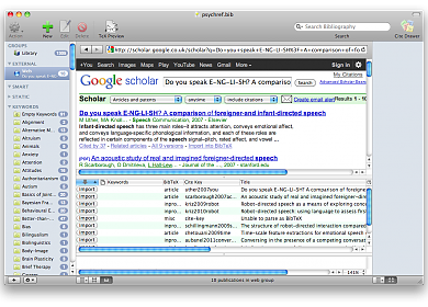 Screenshot of BibDesk with webrowser on Google Scholar, showing the Bibdesk's internal import function