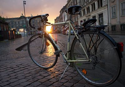 Bianchi bike in Copenhagen, at sunset