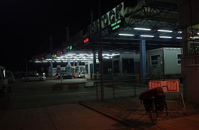 at night, terminal for the Scandlines ferry Rostick-Gedser