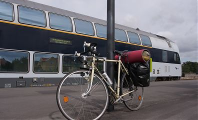 Bianchi bike in front of Danish double decker coach