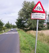 sign in denmark, warning of Krydsende Cyklister